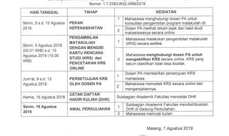 REGISTRASI MAHASISWA SEMESTER GASAL TAHUN AKADEMIK 2019/2020