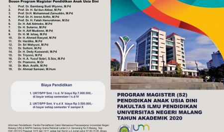 Informasi Penerimaan Mahasiswa Baru S2 PAUD Fakultas Ilmu Pendidikan UM Tahun Akademik 2020